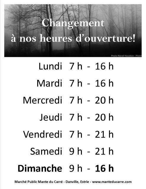 Horaire debut hiver 2015