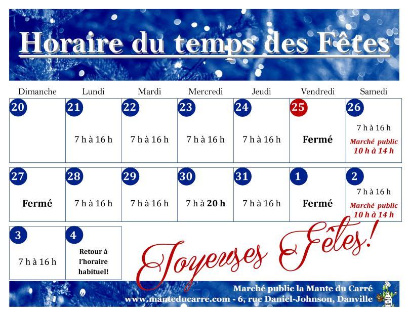 Horaire Temps des Fêtes 2015